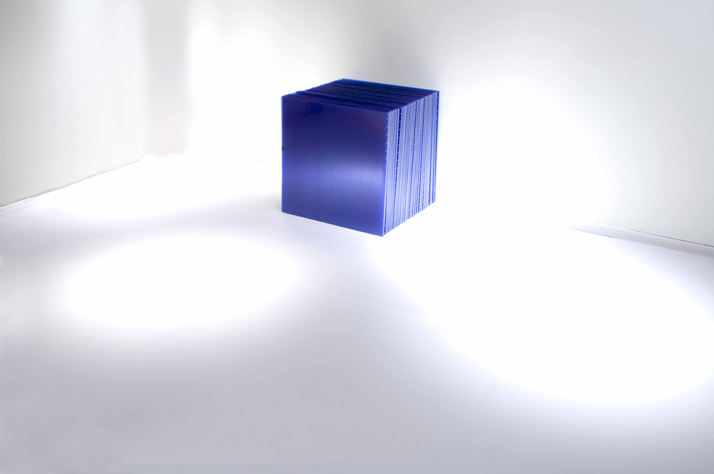 "Marta Chilindrón, ""Cube 48"", 2006, Blue twin-wall polycarbonate, plastic hinges and screws, 48 x 48 x 48 in. when closed. Photo credit: Arturo Sanchez."