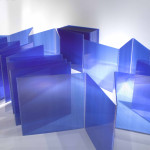 "Marta Chilindrón, ""Cube 48""(alternate view), 2006, Blue twin-wall polycarbonate, plastic hinges and screws, 48 x 48 x 48 in. when closed. Photo credit: Arturo Sanchez."