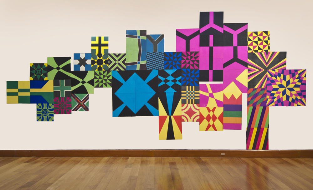 "Magdalena Atria, ""Voy en camino"", 2013, Collage, kites on wall, 250 x 450 cm. Location: Museo de Artes Visuales, Santiago de Chile. Photo credit: Museo de Artes Visuales, Santiago de Chile"