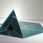 "Marta Chilindrón, ""Pyramid 48"", 2006, Green twin-wall polycarbonate, plastic hinges and screws, 48 x 48 x 48 in. when closed. Photo credit: Arturo Sanchez."