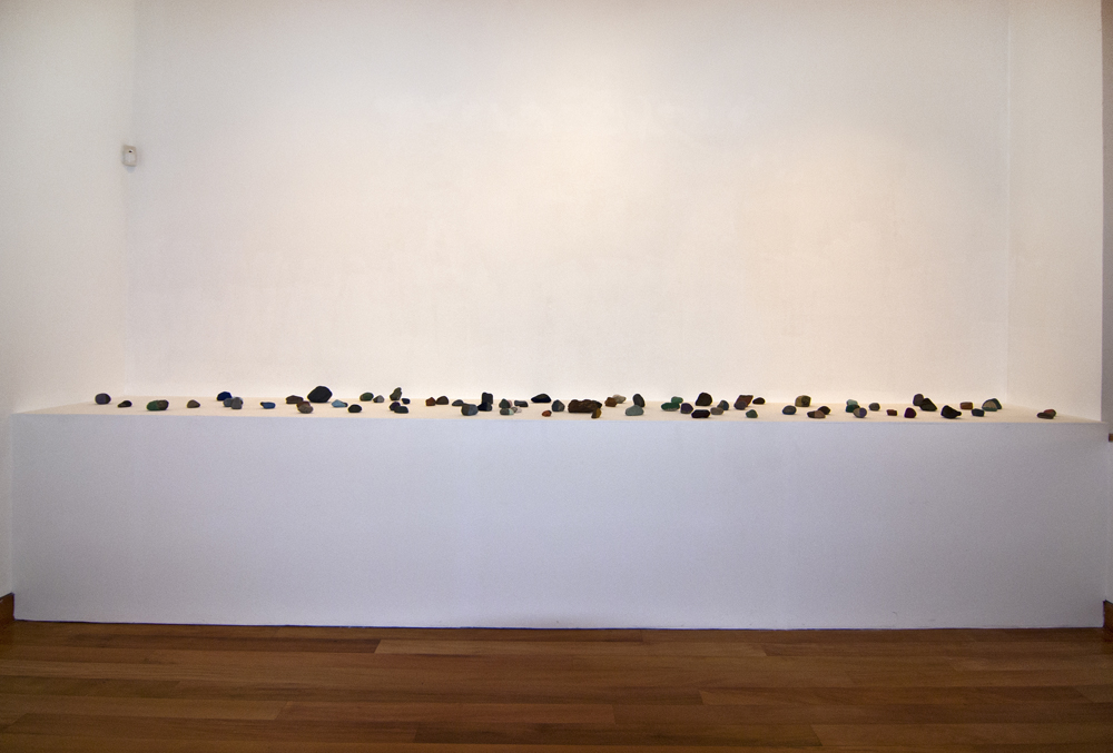 "Magdalena Atria, ""Encuentros Casuales"", 2013, Rocks, Flocking, Variable dimensions. Location: Museo de Artes Visuales, Santiago de Chile. Photo credit: Museo de Artes Visuales, Santiago de Chile"