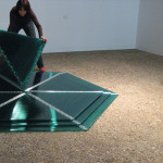 "Marta Chilindrón, ""Pyramid 48""(alternate view), 2006, Green twin-wall polycarbonate, plastic hinges and screws, 48 x 48 x 48 in. when closed. Photo credit: Arturo Sanchez."