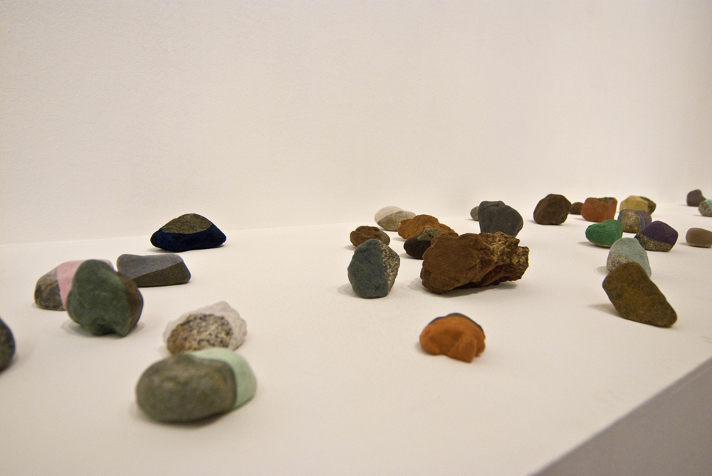 "Magdalena Atria, ""Encuentros Casuales"" (Detail), 2013, Rocks, Flocking, Variable dimensions. Location: Museo de Artes Visuales, Santiago de Chile. Photo credit: Museo de Artes Visuales, Santiago de Chile"