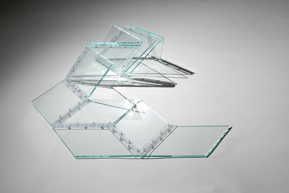 "Marta Chilindrón, ""Hexagon 3030"" (alternate view), 2007, 3/8 clear 3030 plexi, plastic hinges and screws, 3/8 x 44 x 44 in. when completely open. Photo credit: Arturo Sanchez."