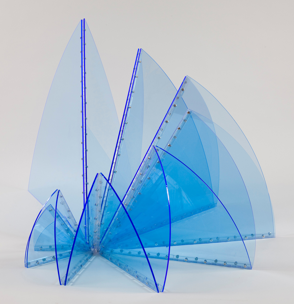 "Marta Chilindrón, ""Spiral"", 2010, Fluorescent blue plexi, plastic hinges and screws, 83 in. diameter when completely flat. Photo credit: Alejandra von Hartz Gallery."